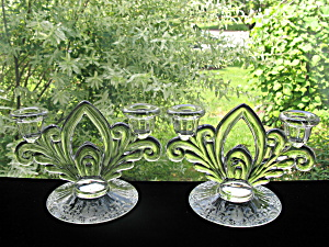 Cambridge Glass Candlelight Etch 2 Light Candlesticks - (Image1)
