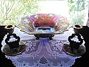 Cambridge Very Rare Amethyst Gloria Bowl & Candlesticks