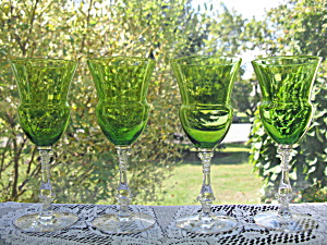Cambridge Glass #3126 Late Emerald Claret - Set Of 4