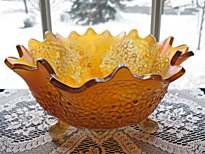 Fenton Carnival Orange Tree Footed Orange/fruit Bowl