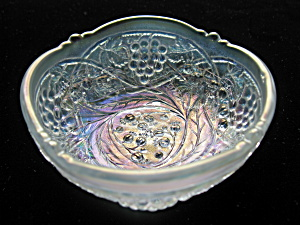 Rare White Carnival Glass Gooseberry Spray Bowl