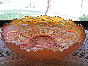 Fenton Marigold Carnival Peacock & Grape Bowl