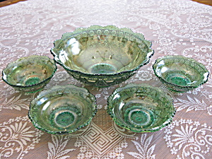Green Carnival Glass Diamond Lace 5 Pc. Berry Set