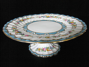 Crown Staffordshire Bone Chinatunis Blue Cake Stand