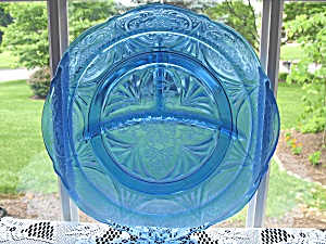 Hazel Atlas Ritz Blue Royal Lace Grill Plate