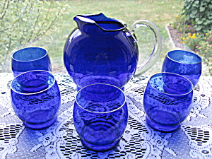 Elegant Dep. Era Cobalt Blue Juice Pitcher & Tumblers