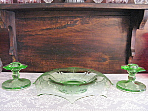 Green Depression Indiana Glass Dancer Console Set