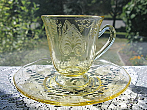 Fostoria Trojan Etch Topaz After Dinner Cup & Saucer (Image1)