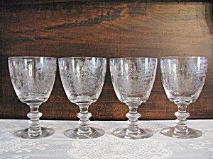 Fostoria Plymouth Etched Water Goblets - 4