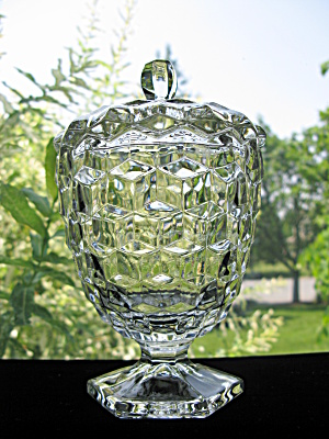 Fostoria American Hex Foot Candy Jar W/lid