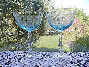 Fostoria Azure Blue Navarre Tall Sherbet/Champagne - Pr (Image1)