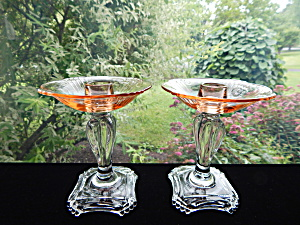 Fostoria #2470 Rose And Crystal Candleholders - Pair