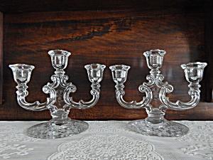 Fostoria Navarre 2482 Trindle Candlesticks - Pair (Image1)