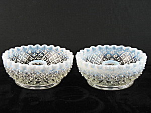 Fenton French Opalescent Diamond Lace Candlesticks