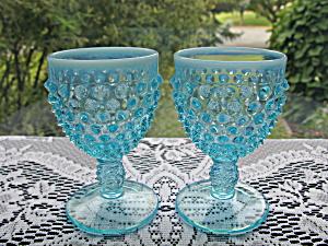 Fenton Blue Opalescent Hobnail Round Wine Goblets - Pr. (Image1)