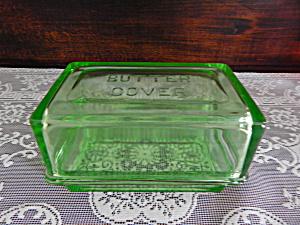 Vintage Hazel Atlas Green Depression 1 lb. Butter Dish  (Image1)