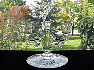 Heisey Trident 2 Lite Candlestick W/orchid Plate Etch