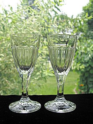 Heisey Narrow Flute Sherry Stems - Pair