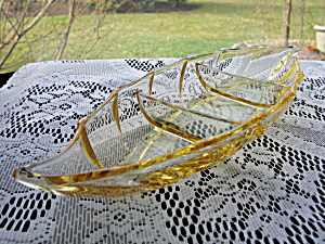 Heisey Sahara/yellow Twist 3- Section Relish Tray
