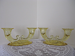 Heisey Sahara Yellow Warwick 2 Light Candlesticks - Pr.