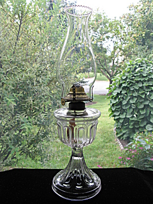 U. S. Glass Antique Long Loop Pattern Glass Oil Lamp