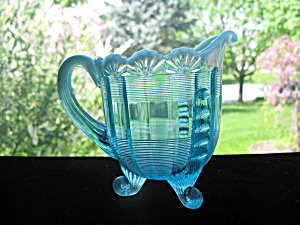 Northwood Blue Opalescent Fluted Scrolls Creamer (Image1)
