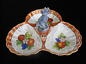 Noritake Dolphin Figural Handled Lustre 3-part Dish