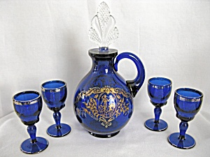 New Martinsville Cobalt W/silver Cordial Decanter Set