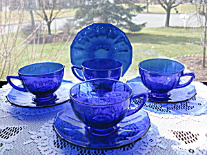 New Martinsville Addie Cobalt Blue Cups & Saucers - 4