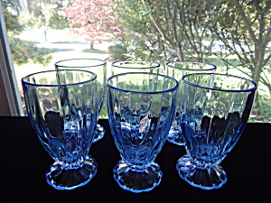 New Martinsville Blue Janice Footed Tumblers - 6