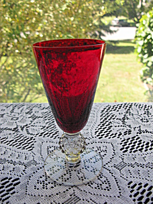 Morgantown Spanish Red/ruby Golf Ball Stem 5 Oz Tumbler
