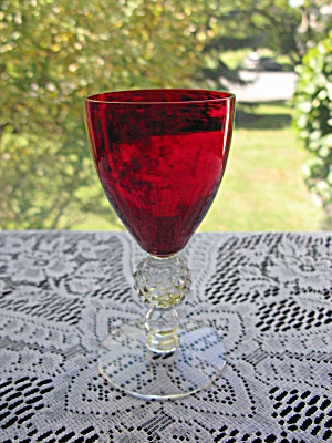 Morgantown Spanish Red Golf Ball Stem Claret Goblet