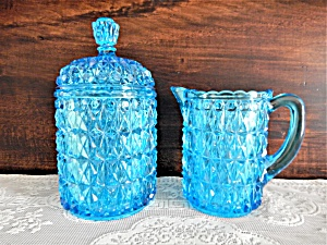 Antique Eapg Blue Pressed Diamond Creamer & Sugar  (Image1)