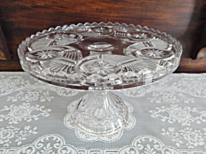 Antique Crystal Circle Pattern Glass Cake Stand