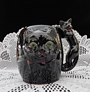 Vintage Shafford Redware Black Cat Mug