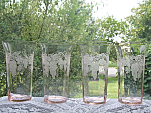 Tiffin Glass Pink Special Vintage Iced Tea Tumblers -4