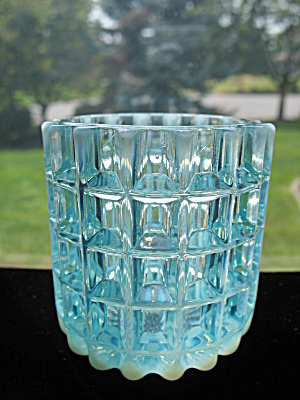 Blue Opalescent Beatty Waffle Toothpick Holder