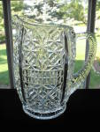 Click here to enlarge image and see more about item A139: Antique  Eapg O'HARA GLASS Pitcher - DAISY IN DIAMOND