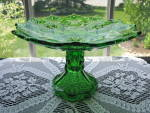 Click here to enlarge image and see more about item A166: Antique EAPG Emerald Green Compote SHOSHONE
