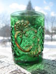 Click here to enlarge image and see more about item A189: Antique Riverside Croseus Emerald Green Tumbler