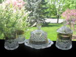 Antique Eapg Button Arches Decorated Table Set
