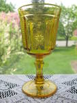 Antique EAPG Amber Medallion Goblet