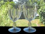 Antique Eapg U.S. Glass Prism Column Goblets - Pr.