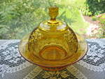 Click to view larger image of Antique Eapg Amber Hartley Butter Dish (Image2)