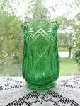 Click here to enlarge image and see more about item A232: McKee Emerald Green Squat Pineapple Celery Vase
