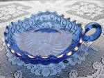 Click here to enlarge image and see more about item A310: Antique King's 500 pattern Cobalt Blue Handled Dish