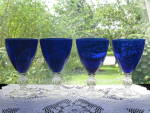 Click here to enlarge image and see more about item CB120: Cambridge Aurora Cobalt Blue Ftd.  Iced Tea Stems - 4