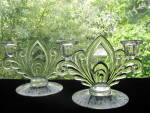 Click to view larger image of Cambridge Glass Candlelight Etch 2 Light Candlesticks - (Image2)
