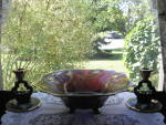 Click to view larger image of Cambridge Very Rare Amethyst Gloria Bowl & Candlesticks (Image2)