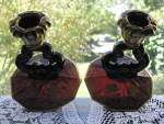 Click to view larger image of Cambridge Very Rare Amethyst Gloria Bowl & Candlesticks (Image6)